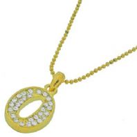 Genuine austrian crystal initial pendant necklace - letter O (Code 0886)